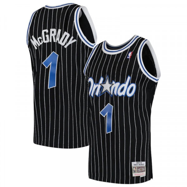 Orlando Magic Tracy Mcgrady Mitchell Ness 2003 04 Hardwood Classics Swingman Player Black Pinstripe Jersey